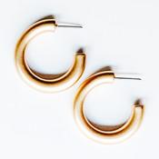 Thick gold metal hoop earrings, Nickel and lead free.