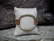 Bronze Leather Bracelet With Open Circle Accent