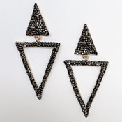 Hematite statement triangle earrings, Nickel and lead free.