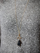 Natural black marbled stone and gold metal pendant necklace, Nickle and lead free.