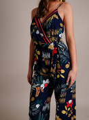 Navy Tropical Print Jumpsuit