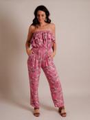 pink floral print strapless jumpsuit