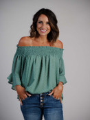 Lightweight sage green blouse, Lined & off-the-shoulder, Ruffled sleeve detail
