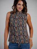 zigzag pattern mock neck blouse with tie sleeveless