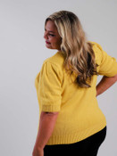 plus clothing mustard short sleeve sweater