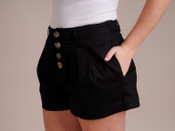 Black Button Down Shorts