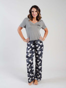black lounge pant with grey and white floral pattern pajama pant