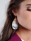 """white snake print 2.5"""" drop earring with gold detail"""