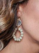 """2"""" drop grey snake print and grey wood bead hoop earring"""