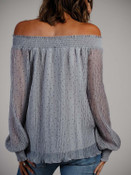 gray blouse with black polka dots