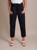 Woman Models Black Paper Bag Pants