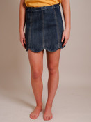 Scalloped Bottom Denim Skirt