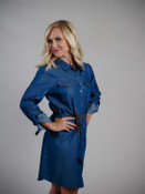 umgee jean dress with braided leather belt