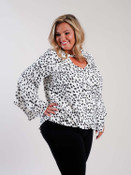 oddi clothing white and black animal print blouse