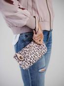 kendall in pink leopard print crossbody wristlet jen and co