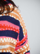 navy and pink multicolor multi textured cardigan