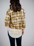mustard plaid acid wash shirt