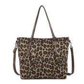 Khaki and brown cheetah print tote bag vegan leather