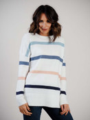 ivory sweater with pastel stripes staccato