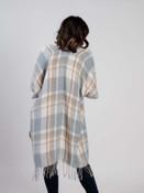 Grey plaid kimono