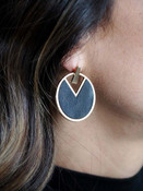 black geometric round earring