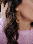 metal and wood teardrop earring