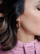 gold and wood hoop earrings