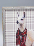 Plaid Llama Embellished Mini Framed Canvas