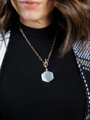 chain link necklace with white pendant