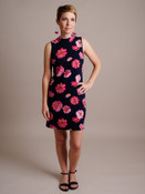 pink floral print navy shift dress