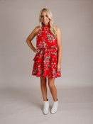 Red Floral Ruffle Flounce Dress