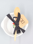 Cardinal and holly appetizer bowl with wooden spatula