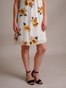 Floral Print Sleeveless Keyhole Dress