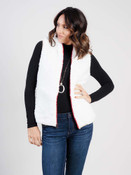 Ivory plaid and ivory sherpa vest