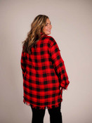 red and black plaid tunic with frayed hem umgee
