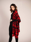 red and black buffalo check sweater poncho