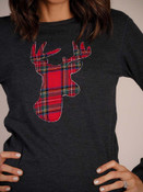 charcoal thermal reindeer plaid christmas t-shirt