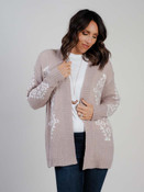 Taupe cardigan with aztec print