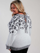 Grey leopard print sweater with neck tie