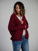 Burgundy cardigan with front pockets