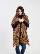 leopard print kimono with fringe detail