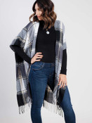 black plaid flannel kimono