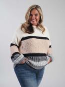 multi textured sweater black grey tan cream umgee plus clothing curvy