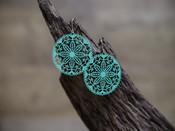 Patina Filigree Disc Earring
