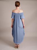 Elena Off-The-Shoulder Embroidered Dress-Stonewash