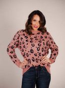molly bracken pink and navy animal print sweater