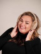taupe ear muffs faux fur lining