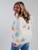 ivory multicolor star sweater curvy clothing plus clothing