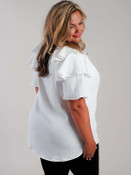 white ruffle sleeve blouse oddi curvy clothing plus clothing