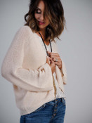 sheer light pink cardigan with shimmer molly bracken boutique clothing